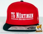 rot, schwarze Flexfit 110 Fitted Snapback Caps besicken mit 3D Stickerei