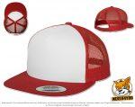 rot, weiße Flexfit Classic Snapback Caps besticken