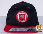 schwarz, rote Flexfit 110 Fitted Snapback Caps besicken mit Kombination aus normaler Stickerei